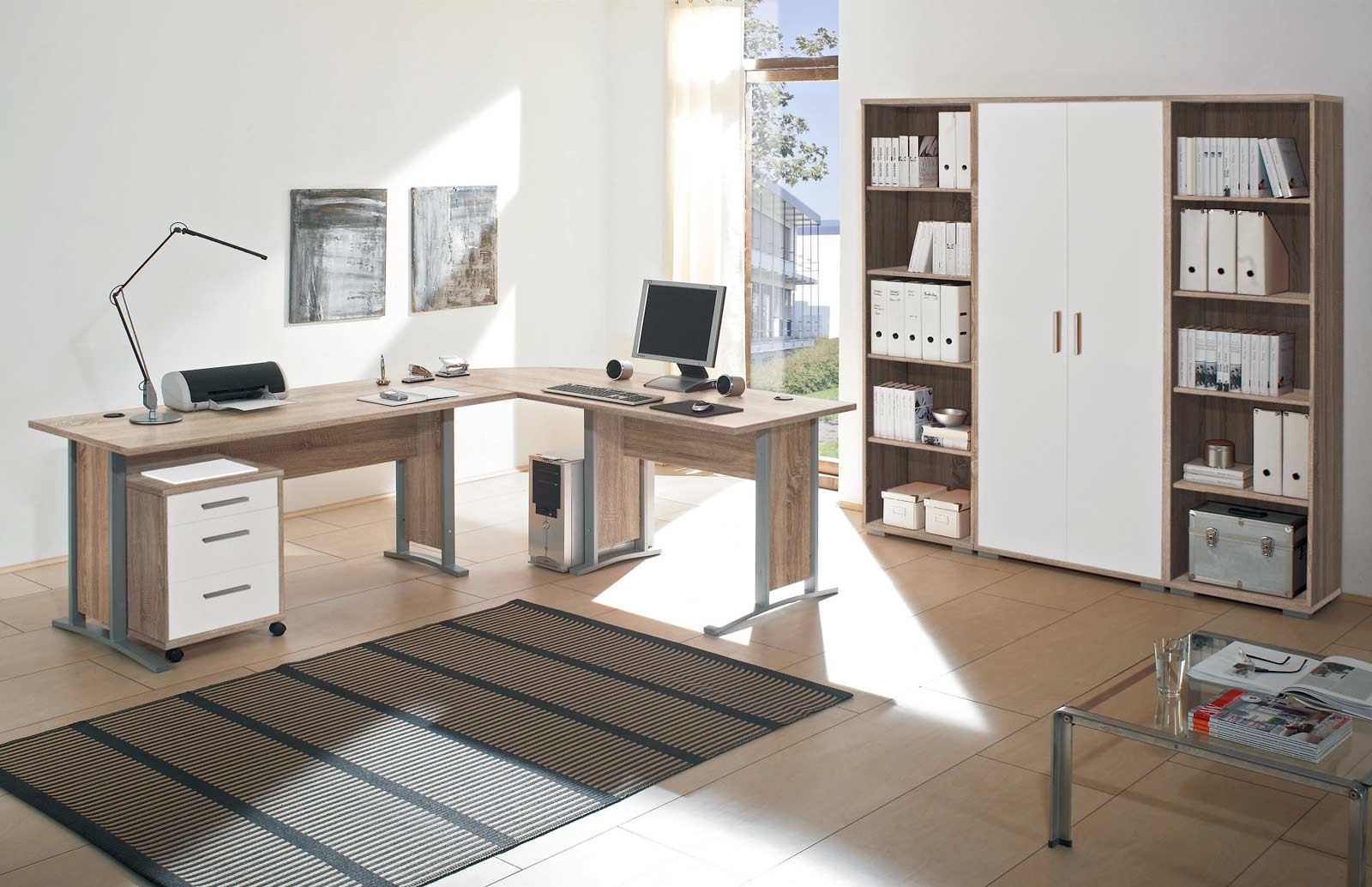 arbeitszimmer b rom bel b roeinrichtung b ro komplett office line mit highboard ebay. Black Bedroom Furniture Sets. Home Design Ideas