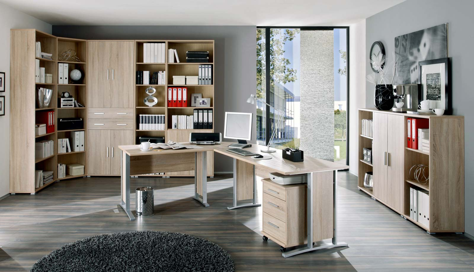 Arbeitszimmer b roeinrichtung b rom bel b ro komplett set office line in eiche ebay - Buro komplett set ...