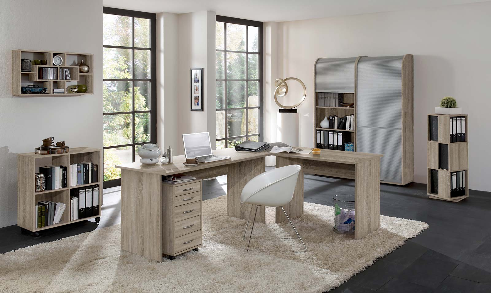 arbeitszimmer schreibtisch b rom bel komplett set office profi in eiche sonoma ebay. Black Bedroom Furniture Sets. Home Design Ideas