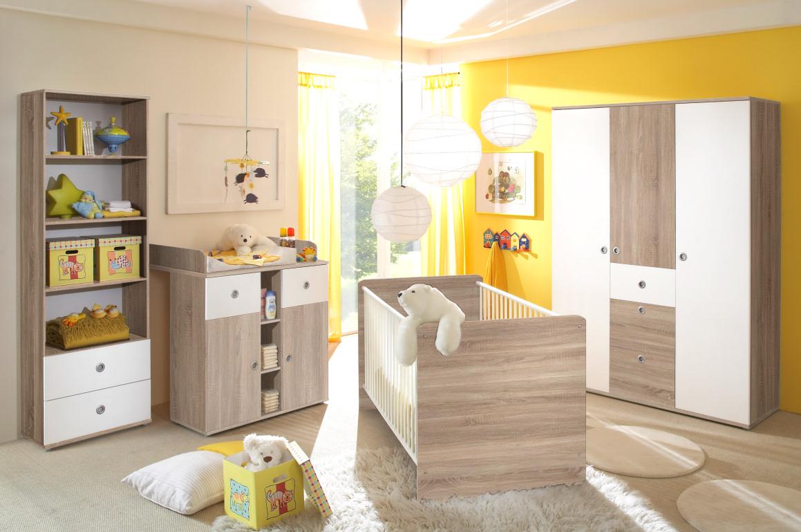 babyzimmer komplett set kinderzimmer komplettset babym bel wiki 4 in eiche wei ebay. Black Bedroom Furniture Sets. Home Design Ideas