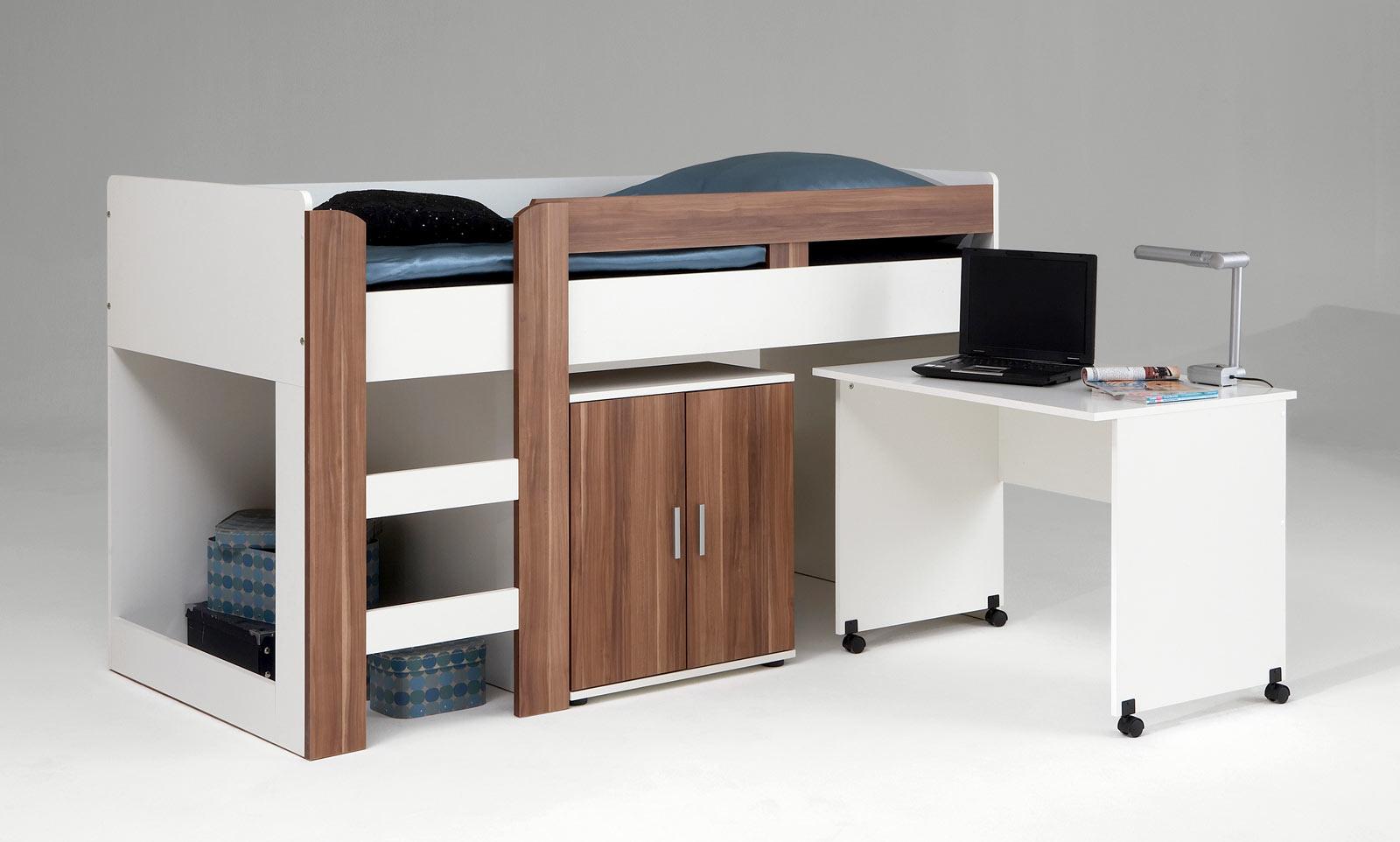 kinderbett hochbett spielbett kinderhochbett jugendbett pedro 5 weiss walnuss ebay. Black Bedroom Furniture Sets. Home Design Ideas