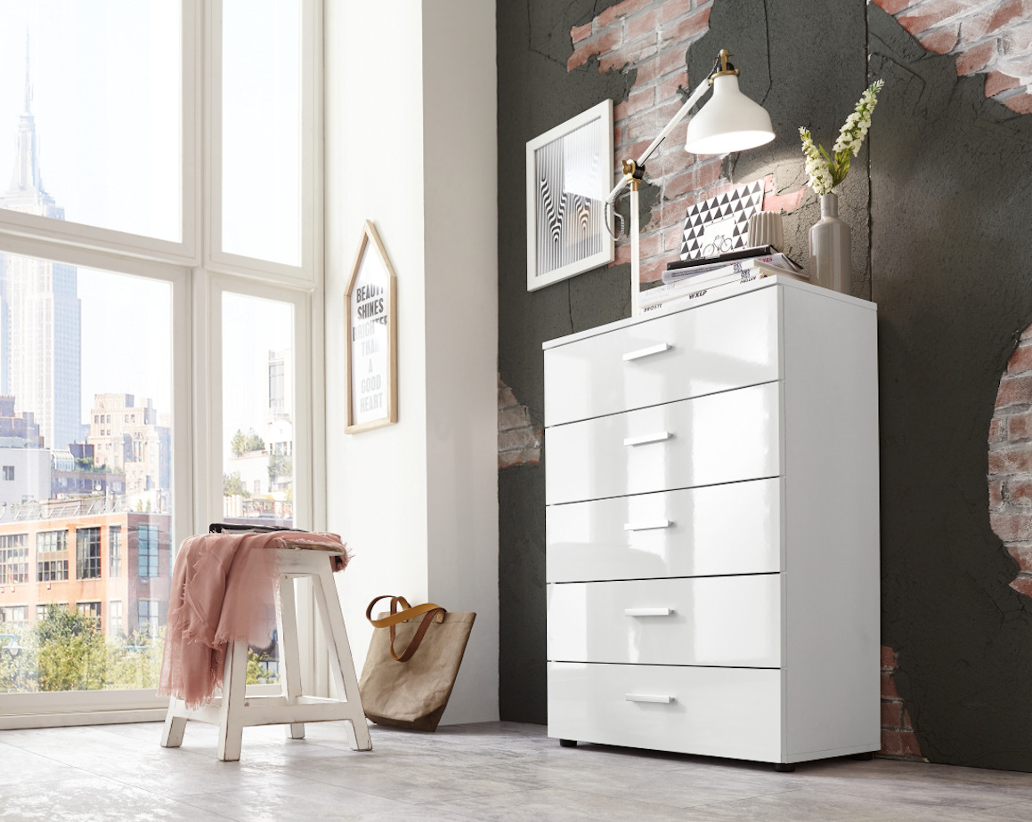schubladen kommode sideboard highboard anrichte schrank malaga 6 hochglanz wei. Black Bedroom Furniture Sets. Home Design Ideas