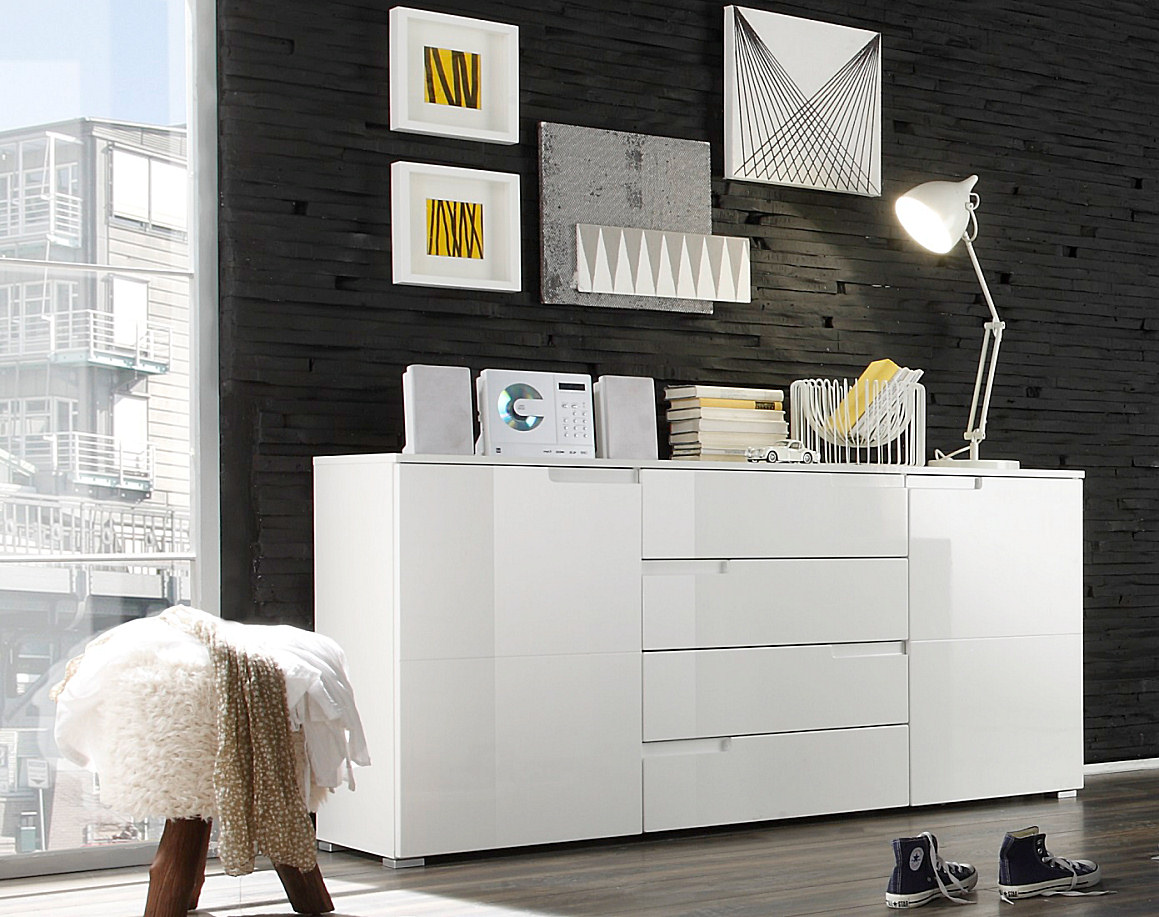 kommode sideboard highboard anrichte schrank spice 8 in hochglanz weiss brandneu. Black Bedroom Furniture Sets. Home Design Ideas