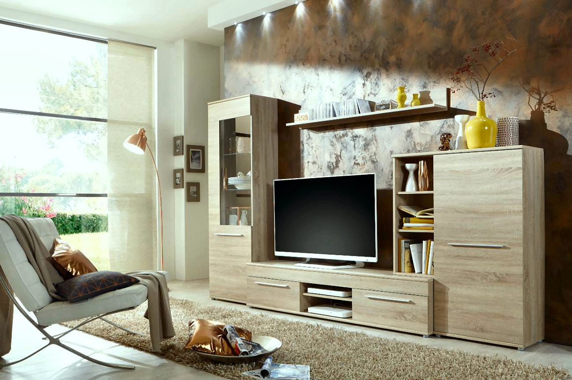 wohnwand schrankwand anbauwand wohnzimmerschrank schrank cannes in eiche sonoma. Black Bedroom Furniture Sets. Home Design Ideas