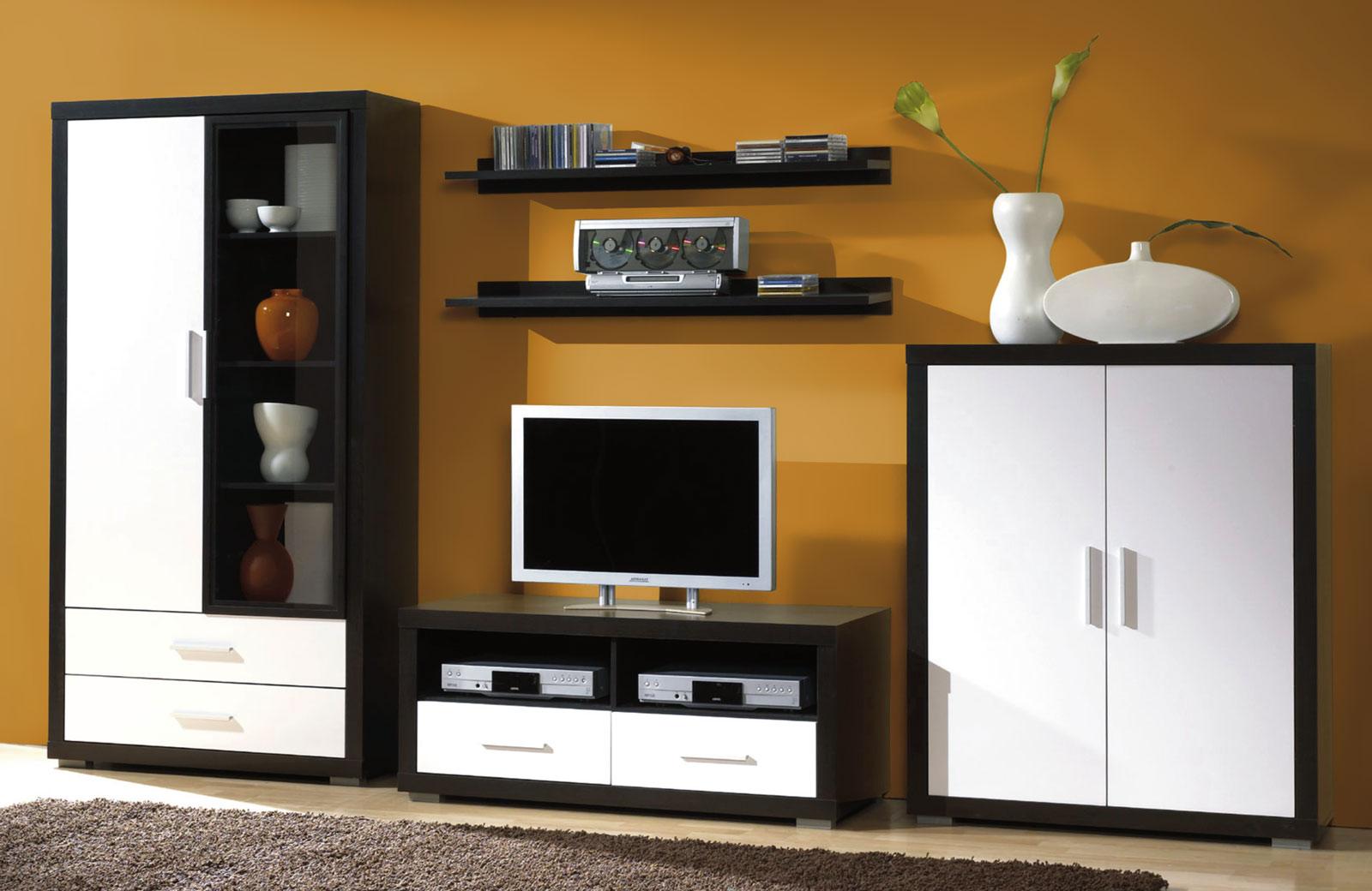 wohnwand anbauwand wohnzimmer schrankwand falcon hochglanz. Black Bedroom Furniture Sets. Home Design Ideas