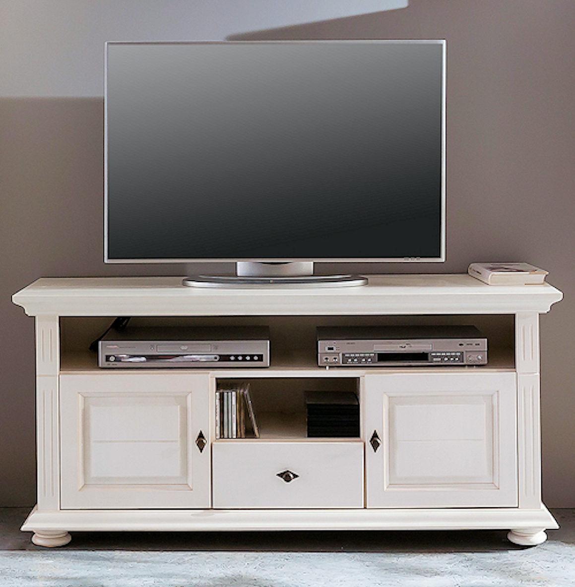 Tv Lowboard Fernsehschrank Leona 29010 Naturweiss Lasiert Landhausstil Massiv Ebay