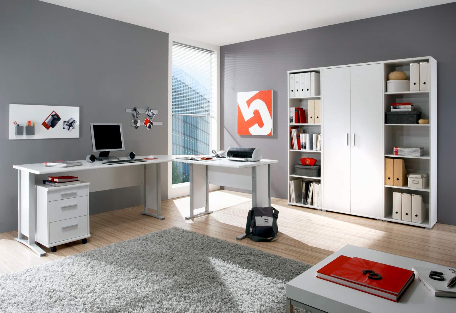 Arbeitszimmer b rom bel komplettb ro b ro set komplett office line in wei ebay - Buro komplett set ...