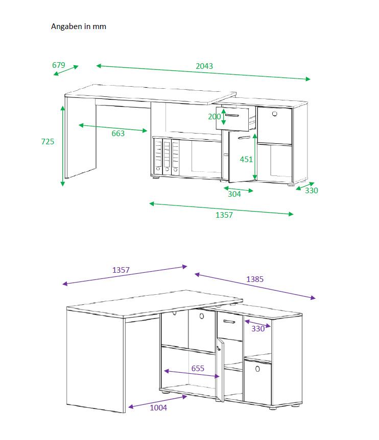 Schreibtisch computertisch eckschreibtisch for Schreibtisch lang