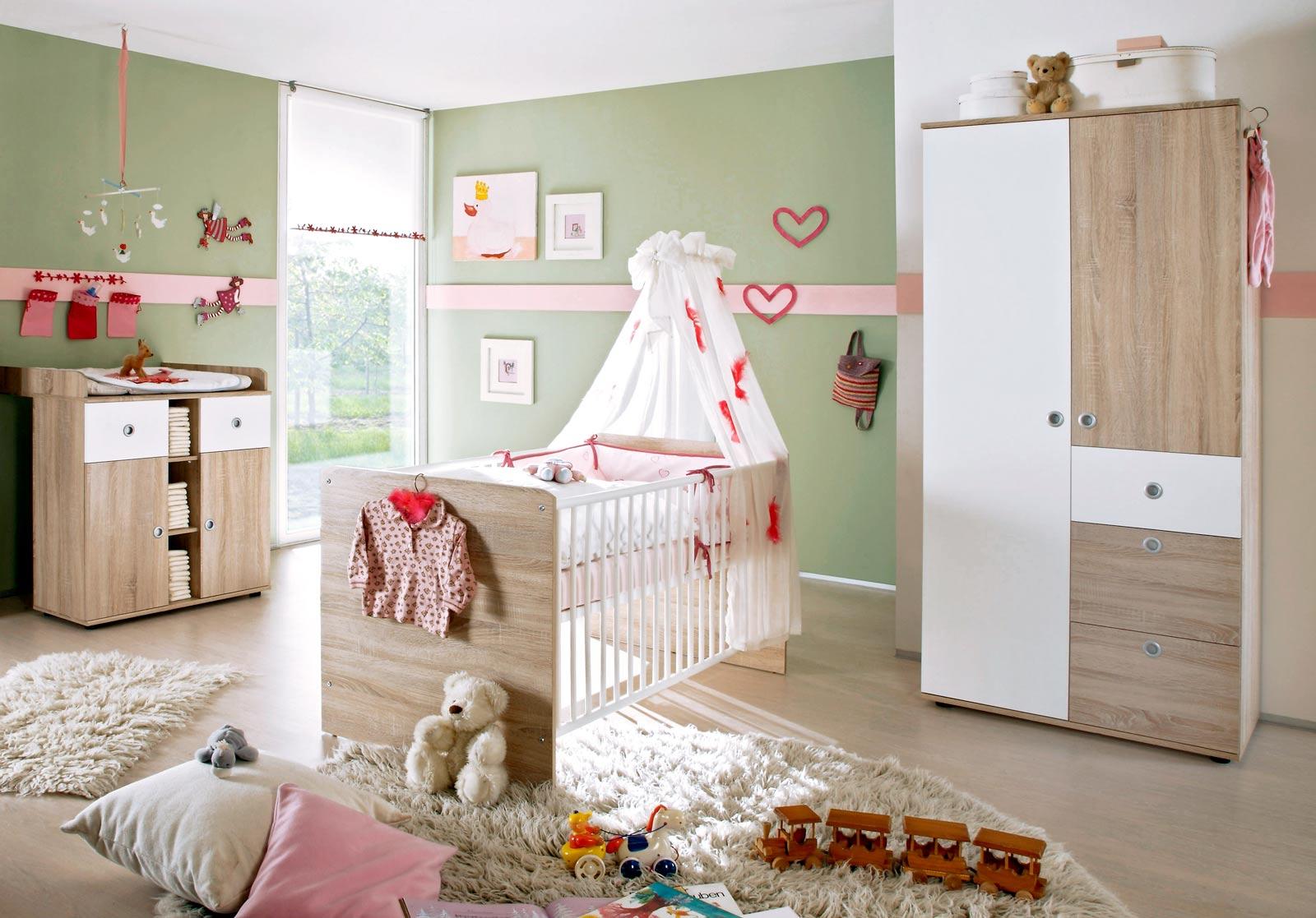 Babyzimmer kinderzimmer komplett babym bel komplettset wiki 1 eiche sonoma wei ebay for Kinderzimmer komplettset