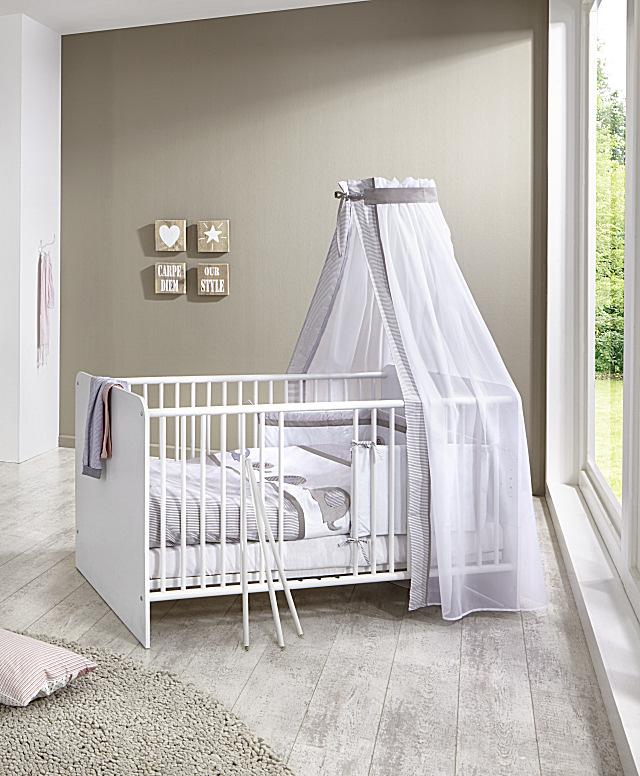 babybett kinderbett gitterbett juniorbett kim in wei 140 x 70 cm umbaubar ebay. Black Bedroom Furniture Sets. Home Design Ideas