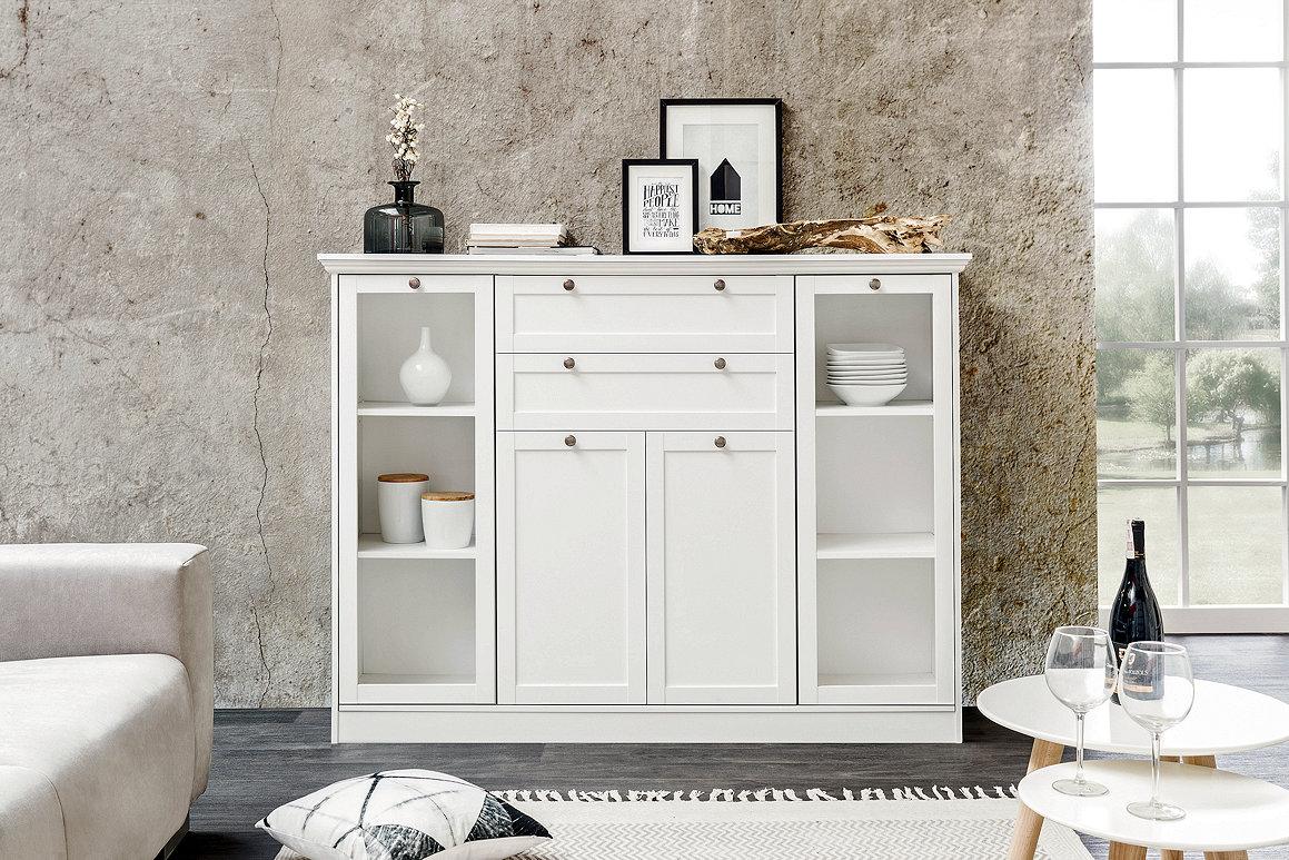 Details zu Landhaus Kommode Anrichte Schrank Sideboard Highboard STOCKHOLM  in weiß