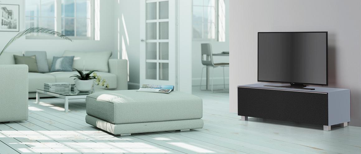 tv board von maja soundconcept in glas himmelblau matt 140 cm breit